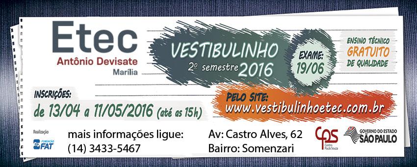 Vestibulinho Etec 2º2016